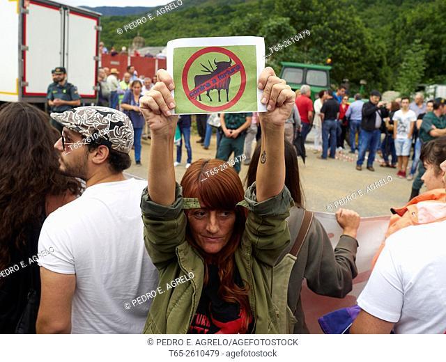 Anti-Bullfighting activist. Triacastela, Province of Lugo, Galicia, Spain (22/08/2015)