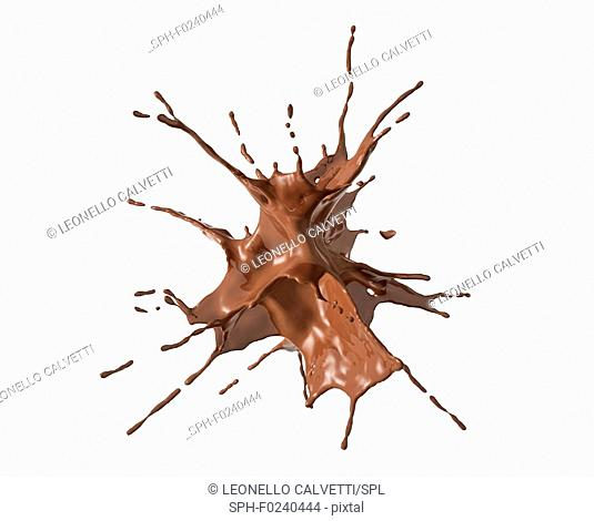 liquid chocolate isolated splash explosion. On white background