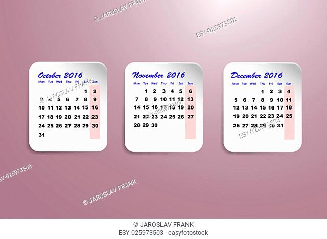 Three white paper sheets with calendar for the fourth quarter of the year 2016 on the trendy purple gradient background