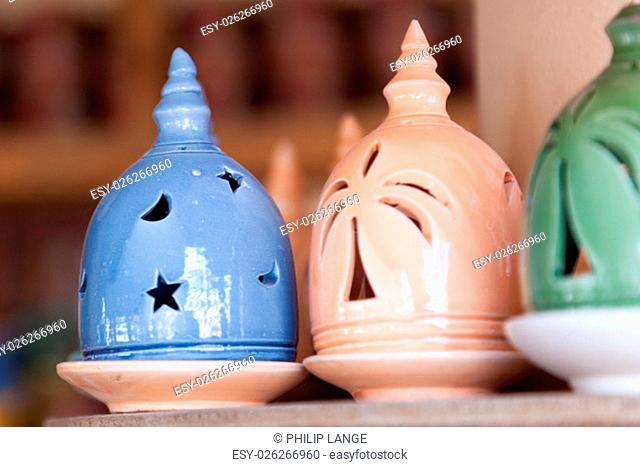 Traditional omani incense burner for sale at the Nizwa souq. Sultanate of Oman, Middle East