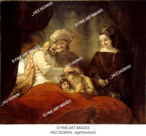 Jacob Blessing Ephraim and Manasseh, 1656. Artist: Rembrandt van Rhijn (1606-1669)