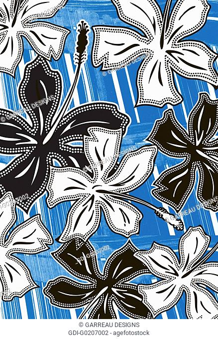 Black and white hibiscus illustration over blue background