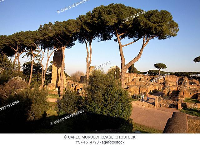 Circus Maximus ruins, Palatine Hill, Rome, Lazio, Italy, Europe