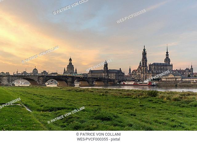 Germany, Dresden, view to old city in the morning