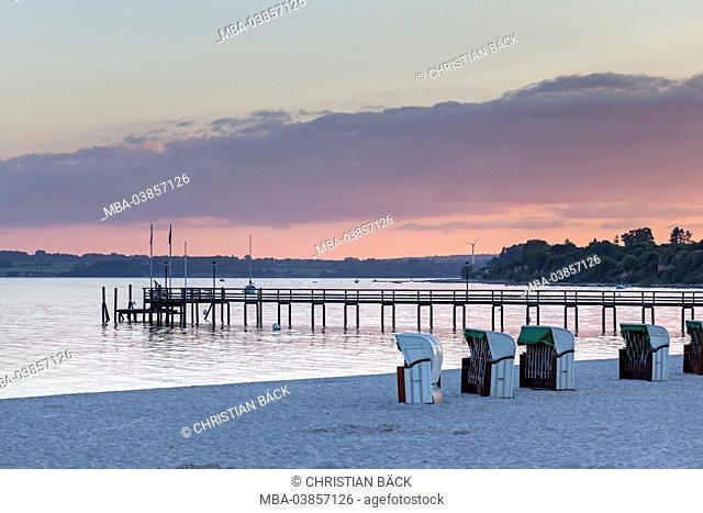 Sea bridge with beach at the Pelzerhaken, Neustadt in Holstein, the Baltic Sea, Ostholstein, Schleswig - Holstein, Germany