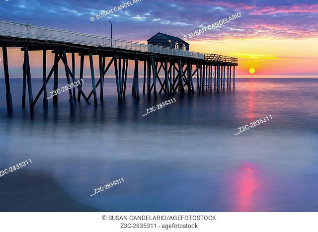 NJ Shore Pier Sunrise - Dramatic and beautiful colors surround the Belmar Pier at the New Jersey Shore during this beautiful seascape sunrise