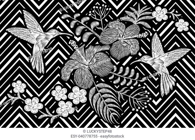 Hummingbird around flower plumeria hibiscus Frangipani exotic tropical summer blossom. Embroidery fashion patch decoration textile print black white stripe...