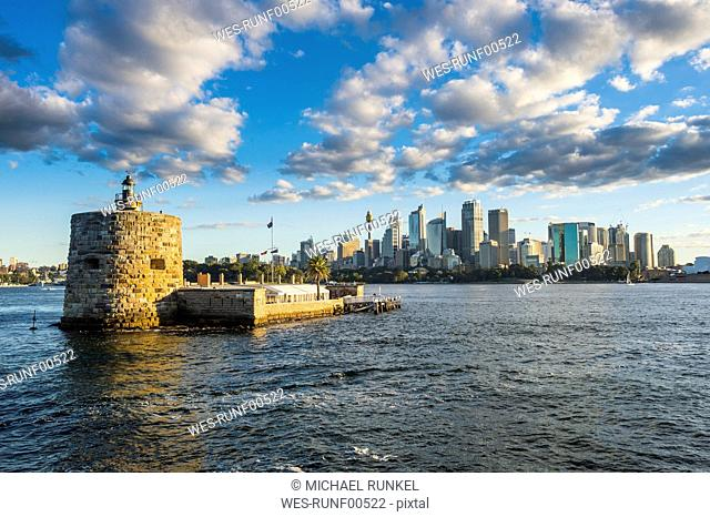 Australia, New South Wales, Sydney, Sydney Harbour, Lighthouse Central Business District in the background