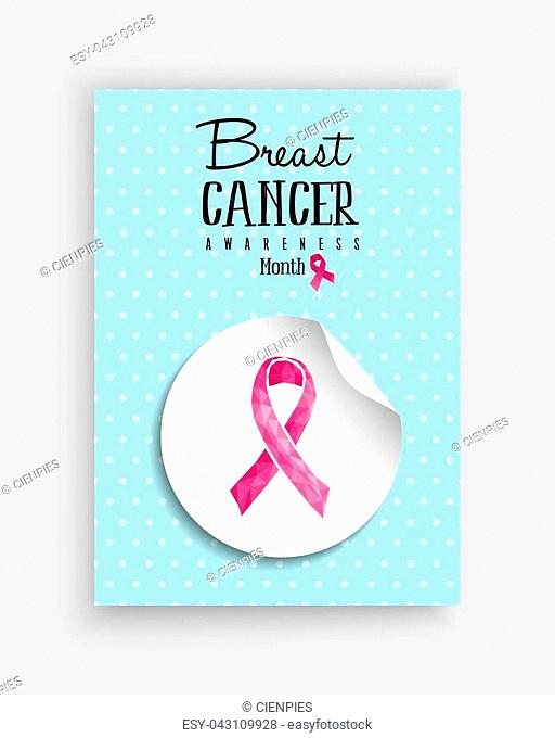 Breast cancer awareness month illustration with low poly pink ribbon bow sticker and text quote for support campaign. EPS10 vector