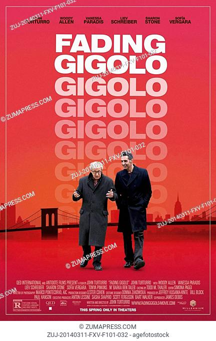 March 11, 2014 - Hollywood, U.S. - FADING GIGOLO (POSTER (2013).WOODY ALLEN.JOHN TURTURRO.JOHN TURTURRO (DIR).Credit: Moviestore Collection/face to face