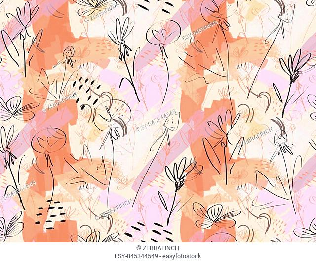 Roughly sketched dandelion flower pink orange.Creative abstract colorful seamless pattern. Tribal ethnic motives. Universal bright background for greeting cards