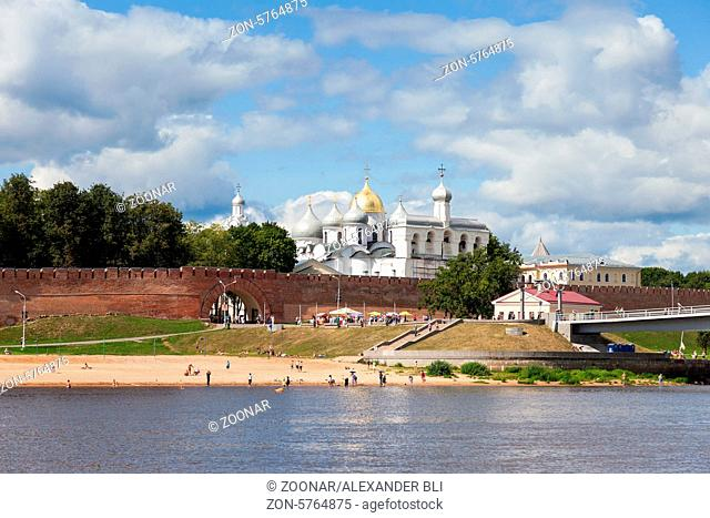 NOVGOROD, RUSSIA - AUGUST 10: Kremlin town fortress with St. Sophia Cathedral on August 10, 2013 in Veliky Novgorod. Veliky Novgorod - famous ancient Russian...