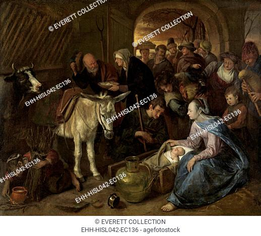 The Adoration of the Shepherds, by Jan Steen, 1660-79, Dutch painting, oil on canvas. The scene is depicted as it would have appeared in 17th century...