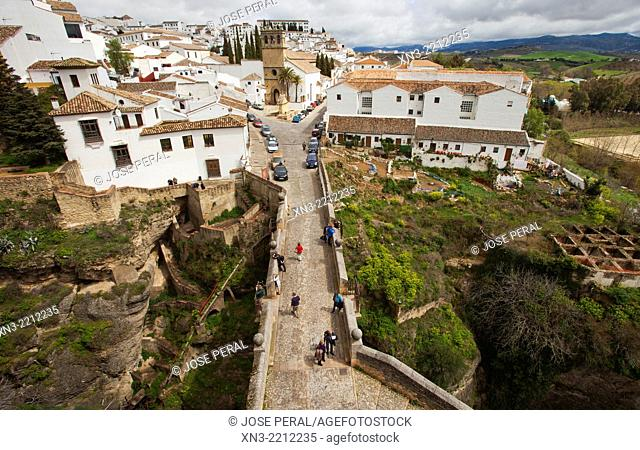 Ronda from the Arco de Felipe V, Archway of Philip V, church of Nuestro Padre Jesús, Ronda, White Towns, Malaga province, Andalusia, Spain, Europe