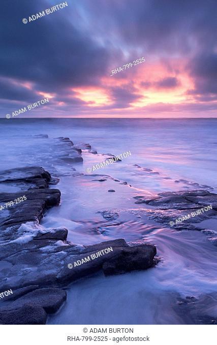 Dramatic sunset above Nash Point on the Glamorgan Heritage Coast, South Wales, Wales, United Kingdom, Europe