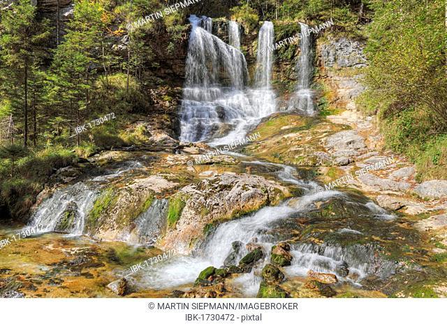 Waterfall in Weissbachschlucht gorge near Weissbach on the Alpine Road, Berchtesgadener Land district, Upper Bavaria, Germany, Europe