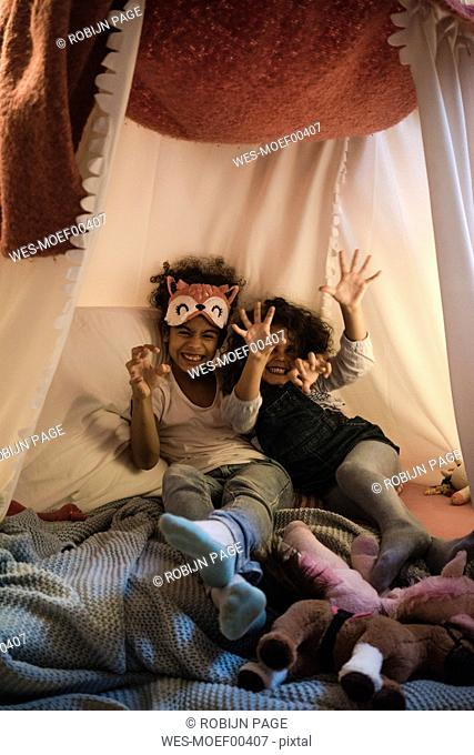 Sisters sitting on bed, playing wild animals