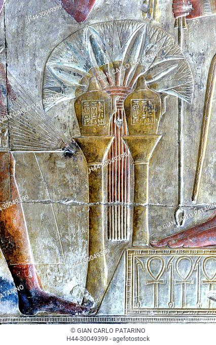 Abydos,Egypt, the mortuary temple of pharaoh Seti I, Menmaatra, (XIX° dyn. 1321-1186 B.C.) - Two sacred vases