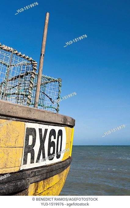 Detail of wooden fishing boat on the beach, known as the Stade, Hastings, East Sussex, England, UK