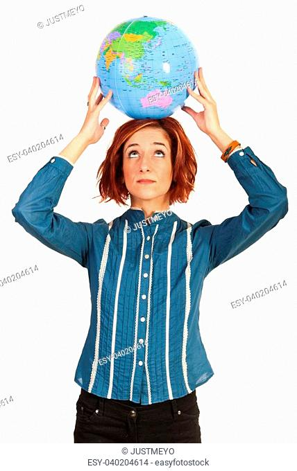 Executive woman holding world globe overhead and looking up isolated on white background