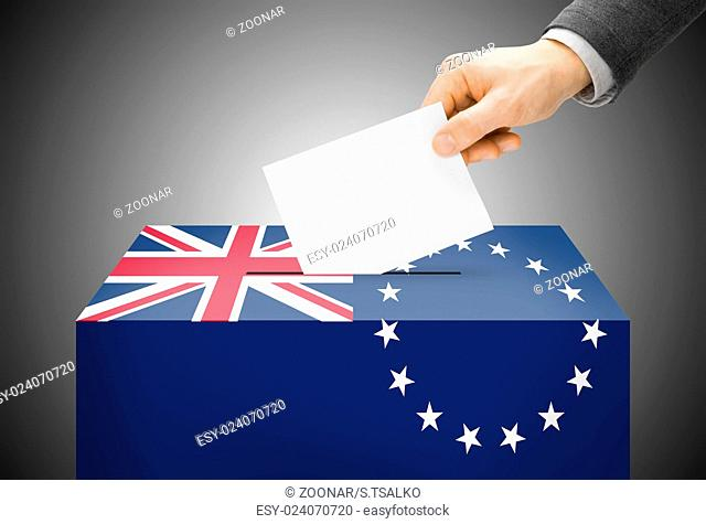 Voting concept - Ballot box painted into national flag colors - Cook Islands