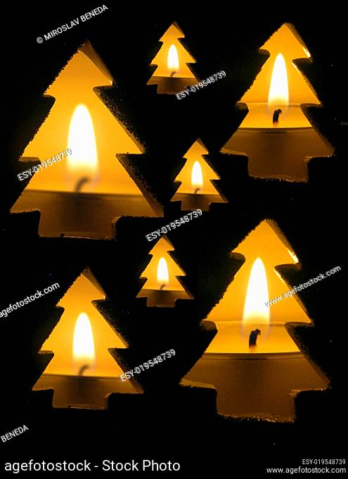 Christmas background - candle and spruce