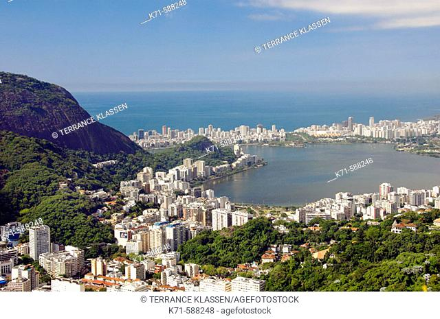 Views of Ipanema, Rodrigo de Freitas Lagoon and the Rio De Janeiro skyline from Corcovado, Brazil
