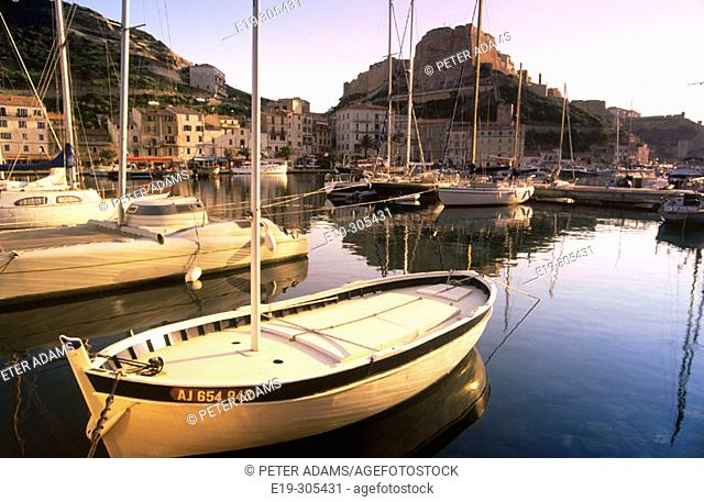 Harbour and citadel in background. Bonifacio, Corsica Island. France
