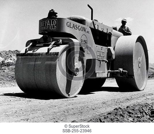 Man driving a steamroller