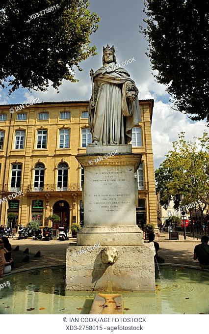 statue of King Rene, Cours Mirabeau, Aix-en-Provence, Provence, France
