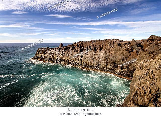 East Coast, Los Hervideros, Lava coast, Cliff, Lanzarote, Canary Islands, Spain