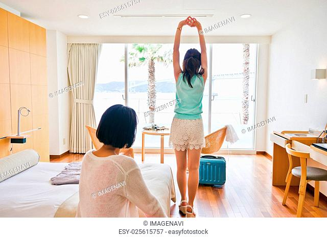 Women relaxing at the hotel