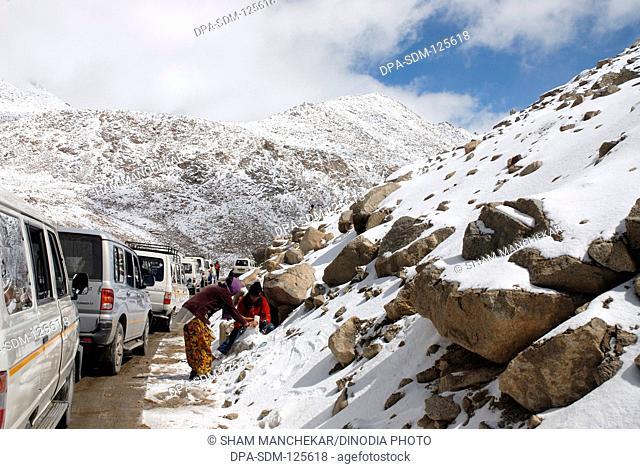 Changla snow pass at17;800 ft. altitude at Leh ; Ladakh ; Jammu & Kashmir ; India