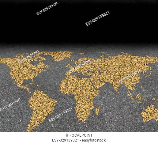 International city travel and global street festival tourism concept with an asphalt road with a world map painted with yellow paint on the rough surface as a...