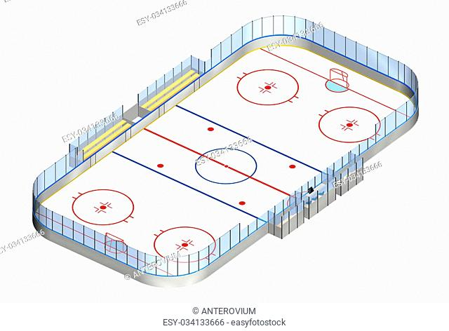 Ice hockey rink detailed 3D illustration isometric view isolated on white