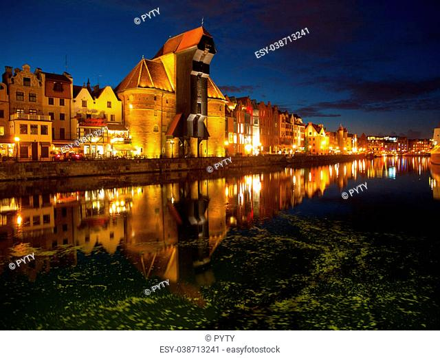 Gdansk Old Town and famous crane by night, Poland