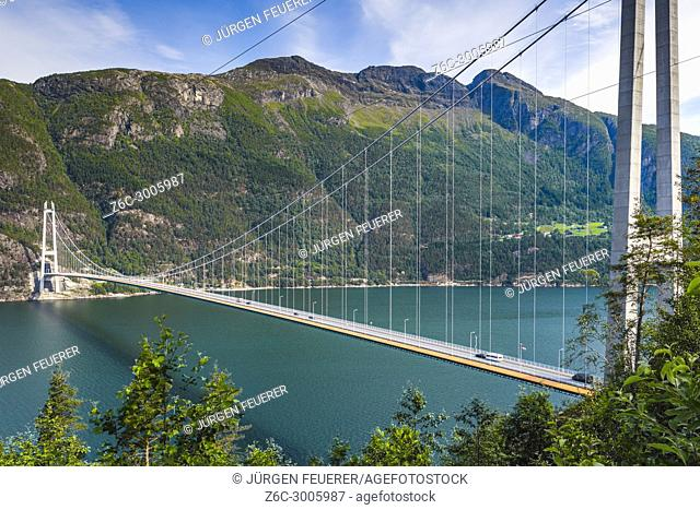 Hardanger Bridge over the Eidfjorden from above, Norway, Scandinavia, suspension bridge Hardangerbrua, Hardangerfjord between Ullensvang and Ulvik