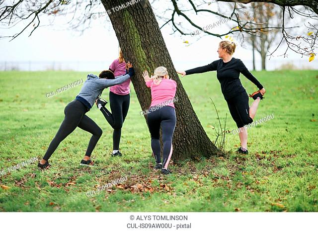 Women and teenager doing warm up exercises around park tree