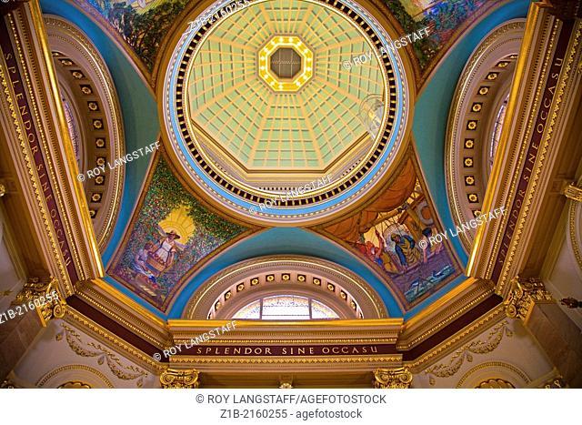 Decorative ceiling of the rotunda in the British Columbia legislative building, Victoria, Canada