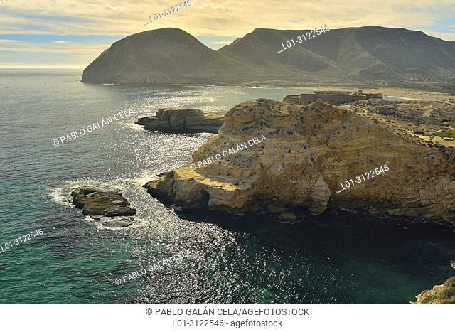 Coastline, Cabo de Gata Natural Park, with Playazo in background. Almeria province, Andalusia, Spain