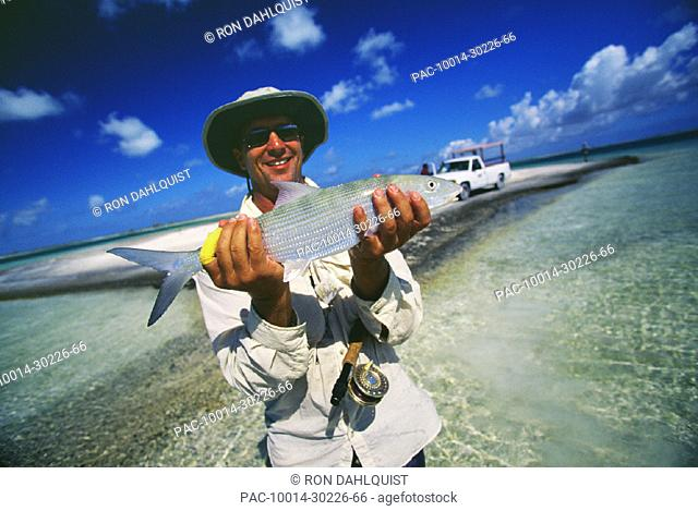 Christmas Island, Fred Haywood holding a 4Pound Bonefish