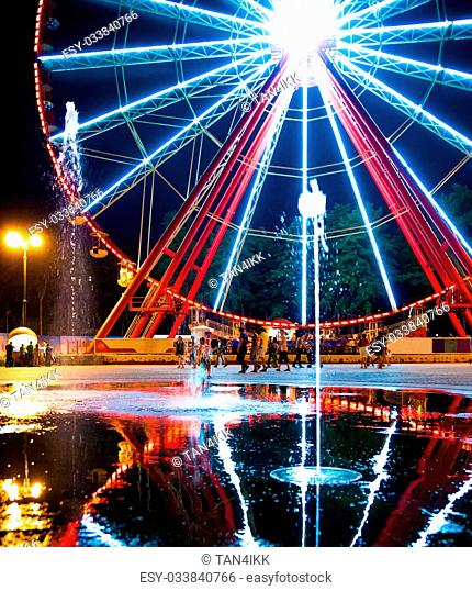 night view of the Ferris wheel and fountain