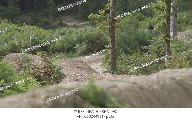 Couple cycling on uneven forest track, man falling down