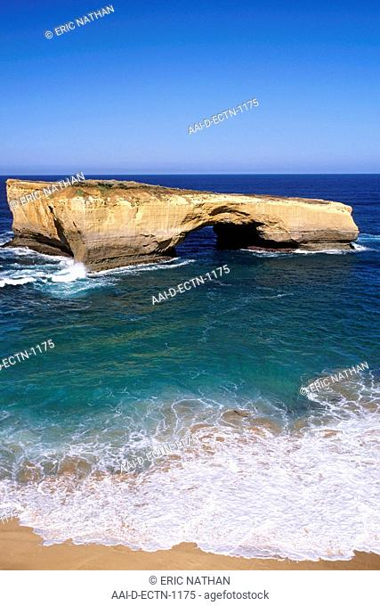 The geological formation known as London Bridge along the Great Ocean Road in Victoria, Australia
