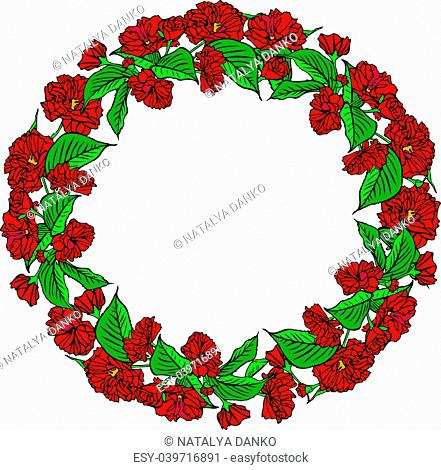wreath of red sakura flowers and green leaves, empty space in the middle, isolated on white background