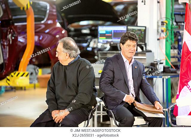 Windsor, Ontario Canada - Fiat Chrysler Automobiles CEO Sergio Marchionne (left) and Unifor President Jerry Dias at FCA's Windsor Assembly Plant