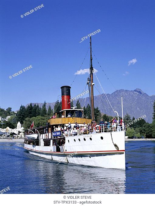 Boat, Earnslaw, Holiday, Lake wakatipu, Landmark, New zealand, Queenstown, South island, Steam, Tourism, Travel, Vacation