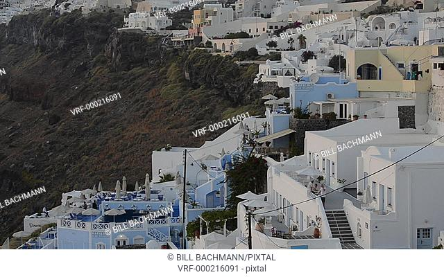 White buildings in wonderful Fira in Santorini Greece high up on the cliffs in Greek Islands of Greece Europe