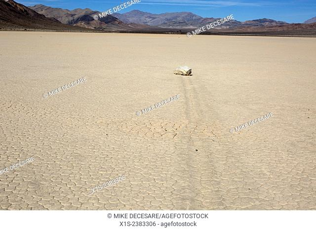 Imprint of large stone left in the arid lake bed of Death Valley known as the Racetrack