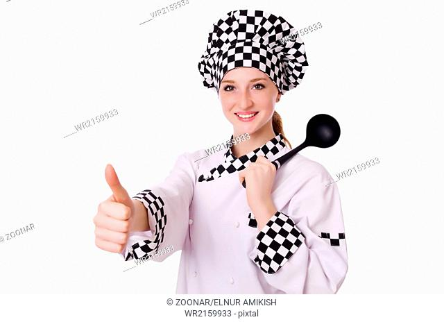 Female chef isolated on white